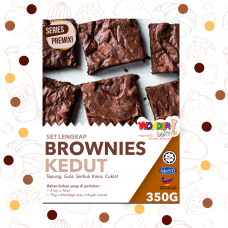 FULL SET FUDGIE BROWNIE PREMIX CAKE 350g | SET LENGKAP TEPUNG BROWNIE KEDUT